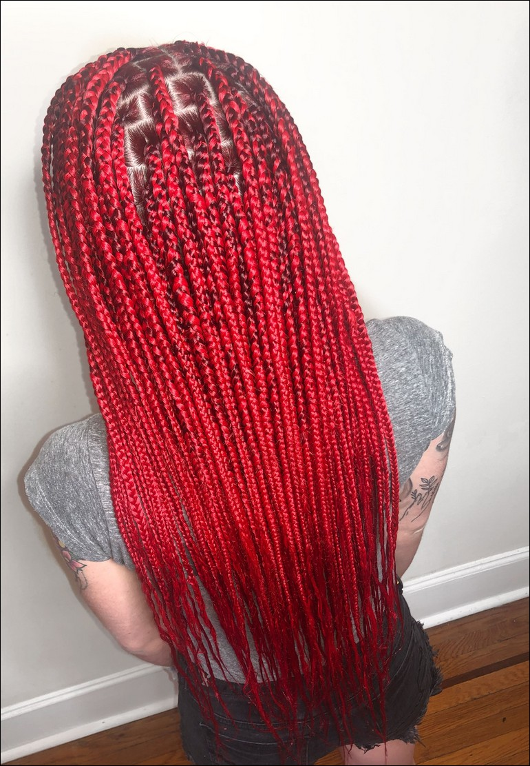 Red Knotless Braids
