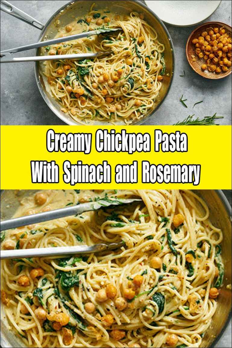 Creamy Chickpea Pasta With Spinach And Rosemary